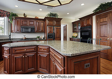 Kitchen with large center island - Kitchen in luxury home...