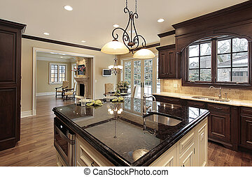 Kitchen with large island - Kitchen in new construction home...