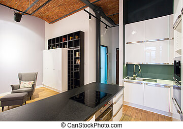 Kitchen with living room - Small kitchen connected with...