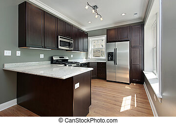 Kitchen in remodeled condominium unit mahogany cabinetry