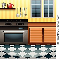 Kitchen with microwave and counter illustration