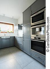 Kitchen with olive green cabinets - Luxury kitchen interior...