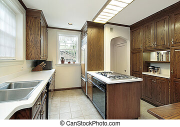 Kitchen with stove top island