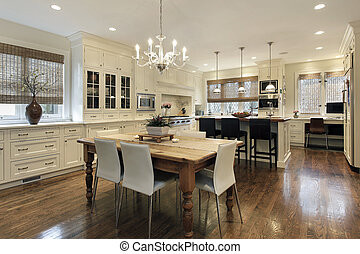 Kitchen with white cabinetry - Kitchen in luxury home with...