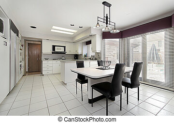 Kitchen in suburban home with white tile