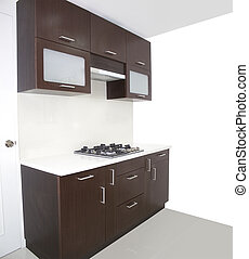 Kitchen with white wall  painting