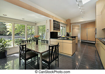 Kitchen with windowed eating area