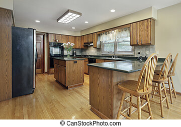 Kitchen with wood cabinetry