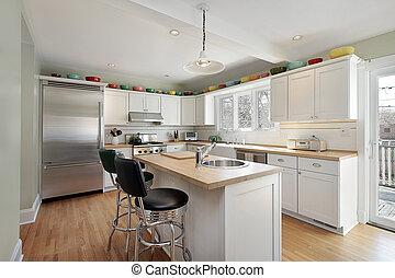 Kitchen with wood island