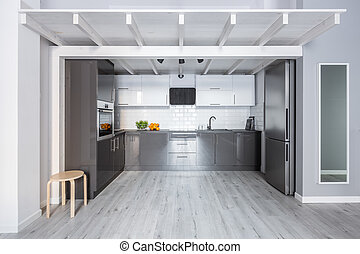 Kitchen with wooden ceiling