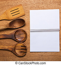 Kitchen. Wooden utensil on the table