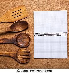 Kitchen. Wooden utensil on the table