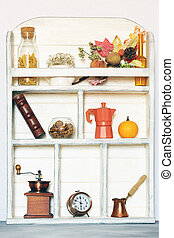 kitchen wooden white cupboard background with utensils and food