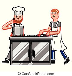 Kitchen worker man cuting sausage and chief is cooking near