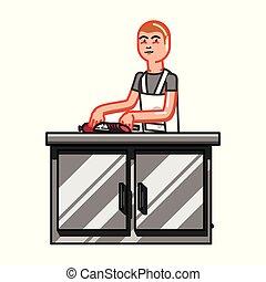 Kitchen worker man cuting sausage. Vector illustration, EPS...
