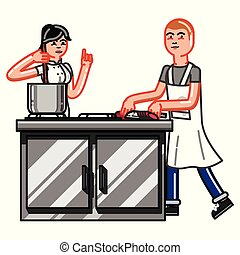 Kitchen worker woman is cooking and worker man cuting...