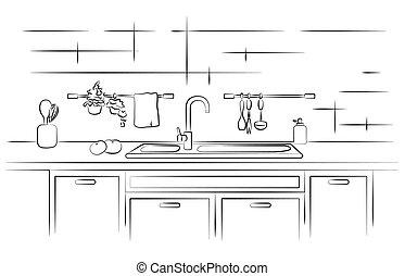 Kitchen worktop with sink. Linear sketch vector...