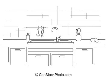 Kitchen worktop with sink. Linear vector illustration. -...