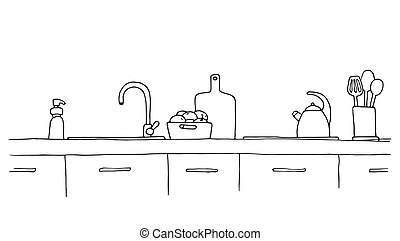 Kitchen worktop with sink. The sketch of the kitchen. -...