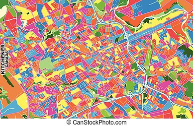 Kitchener, Ontario, Canada, colorful vector map