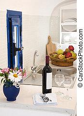 kitchenette kitchen in greek island villa apartment