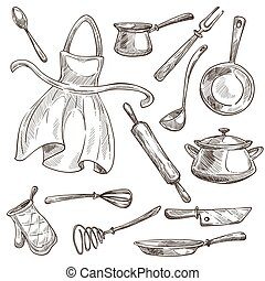 Kitchenware and apron cooking tools saucepan and frypan -...