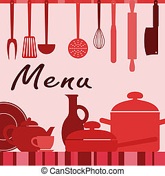 Kitchenware and cooking process for menu background design