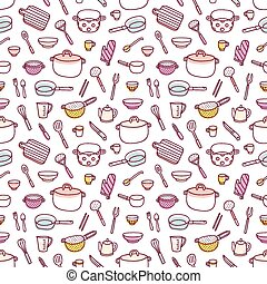 Kitchenware and cooking utensils doodle seamless pattern