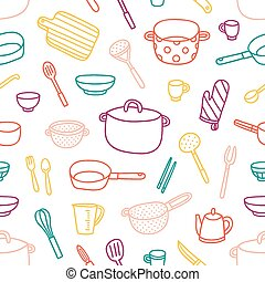 Kitchenware and cooking utensils outlined seamless pattern...