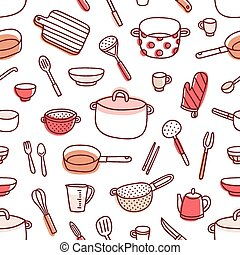 Kitchenware and cooking utensils red palette seamless pattern