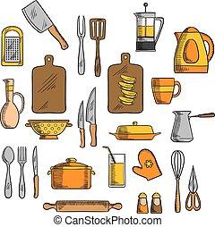Kitchenware and kitchen utensil icons