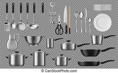 Kitchenware and tableware, crockery vector