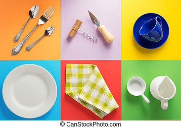 kitchenware at colorful background - kitchenware at abstract...