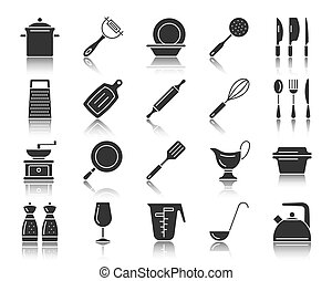 Kitchenware black silhouette icons vector set