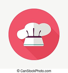 kitchenware chef hat flat icon with long shadow, eps10