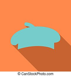 Kitchenware chef's hat flat icon with long shadow