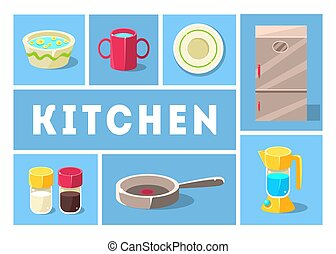 Kitchenware Collection, Kitchen Tools, Cooking Utensils Icons for Web, Banner or Site Vector Illustration