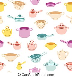 Kitchenware colorful seamless pattern - Colorful cartoon ...