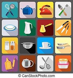 Kitchenware dishes icons set, flat style