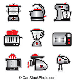 kitchenware - set vector images and icons of kitchenware and...