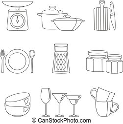 Kitchenware flat design line icons vector collection