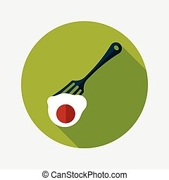 kitchenware fork and egg flat icon with long shadow, eps10