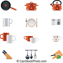 Kitchenware icon set - Set of the detailed icons...