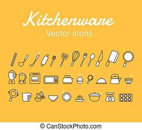 Kitchenware Icons Design Set. Vector Illustration