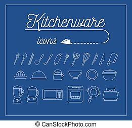 Kitchenware Icons Design Set.Vector Illustration