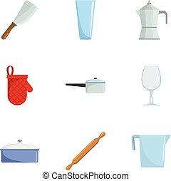 Kitchenware icons set, cartoon style