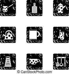 Kitchenware icons set, grunge style