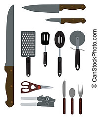 A vector illustration of some kitchenware set against a white background.