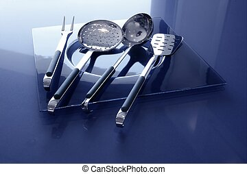 kitchenware kitchen utensils blue and stainless steel