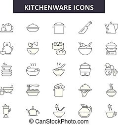 Kitchenware line icons, signs set, vector. Kitchenware outline concept, illustration: kitchenware,kitchen,cooking,food,pot,spoon